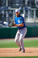 Dunedin Blue Jays third baseman Dickie Joe Thon (2) during practice before a game against the Clearwater Threshers on April 8, 2016 at Bright House Field in Clearwater, Florida.  Dunedin defeated Clearwater 8-3.  (Mike Janes/Four Seam Images)