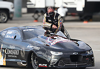 Oct 2, 2020; Madison, Illinois, USA; NHRA pro mod driver Steve Matusek during qualifying for the Midwest Nationals at World Wide Technology Raceway. Mandatory Credit: Mark J. Rebilas-USA TODAY Sports