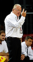 Dusan IVKOVIC (Serbia) head coach, reacts during the 3rd Place World championship basketball match against Lithuania in Istanbul, Serbia-Lithuania, Turkey on Sunday, Sep. 12, 2010. (Novak Djurovic/Starsportphoto.com) .