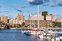 Basin Marina Park and city skyline, Buffalo, New York, USA.