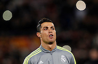 Calcio, andata degli ottavi di finale di Champions League: Roma vs Real Madrid. Roma, stadio Olimpico, 17 febbraio 2016.<br /> Real Madrid's Cristiano Ronaldo arrives for the start of the first leg round of 16 Champions League football match between Roma and Real Madrid, at Rome's Olympic stadium, 17 February 2016.<br /> UPDATE IMAGES PRESS/Riccardo De Luca