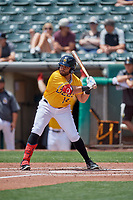Jose Rojas (14) of the Salt Lake Bees at bat against the Las Vegas Aviators at Smith's Ballpark on June 27, 2021 in Salt Lake City, Utah. The Aviators defeated the Bees 5-3. (Stephen Smith/Four Seam Images)