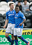 St Mirren v St Johnstone...19.10.13      SPFL<br /> Steven MacLena and Nigel Hasselbaink celebrate the equaliser<br /> Picture by Graeme Hart.<br /> Copyright Perthshire Picture Agency<br /> Tel: 01738 623350  Mobile: 07990 594431