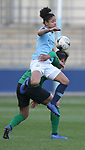 Demi Stokes of Manchester City Women collides with Victoria Williams of Brighton Women
