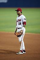 Fredericksburg Nationals first baseman Jose Sanchez (12) on defense against the Delmarva Shorebirds at Fredericksburg Nationals Ballpark on July 28, 2021 in Fredericksburg, Virginia. (Brian Westerholt/Four Seam Images)