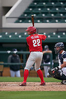 Philadelphia Phillies Hunter Hearn (22) bats during a Minor League Spring Training game against the Detroit Tigers on April 17, 2021 at Joker Marchant Stadium in Lakeland, Florida.  (Mike Janes/Four Seam Images)