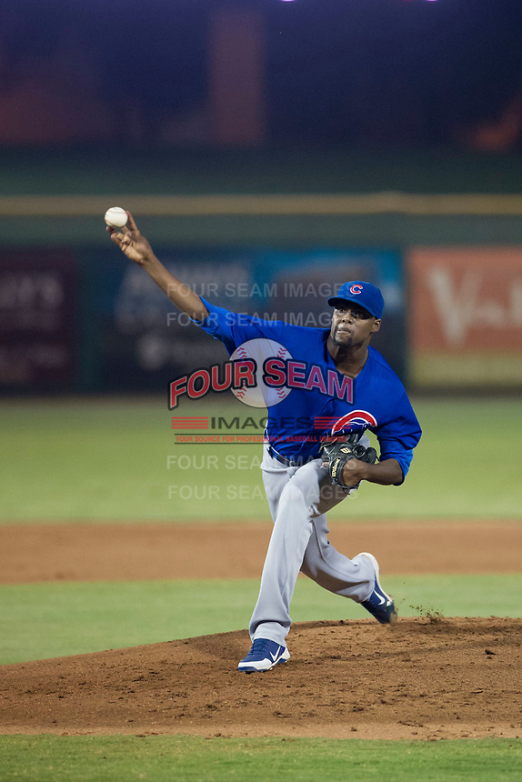 AZL Cubs relief pitcher Alfredo Colorado (75) delivers a pitch to the plate against the AZL Giants on September 5, 2017 at Scottsdale Stadium in Scottsdale, Arizona. AZL Cubs defeated the AZL Giants 10-4 to take a 1-0 lead in the Arizona League Championship Series. (Zachary Lucy/Four Seam Images)
