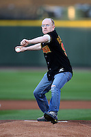 September 4, 2009:  Major James Lincoln throws out the first pitch before the Rochester Red Wings game at Frontier Field in Rochester, NY.  Lincoln just returned from Iraq.  The Red Wings are the Triple-A International League affiliate of the Minnesota Twins.  Photo By Mike Janes/Four Seam Images