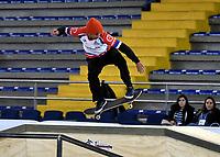 BOGOTA - COLOMBIA - 12 - 08 - 2017: Miguel Castro Fonseca, Skater de Costa Rica, durante competencia en el Primer Campeonato Panamericano de Skateboarding, que se realiza en el Palacio de los Deportes en la Ciudad de Bogota. / Miguel Castro Fonseca, Skater from Costa Rica, during a competitions in the First Pan American Championship of Skateboarding, that takes place in the Palace of Sports in the City of Bogota. Photo: VizzorImage / Luis Ramirez / Staff.