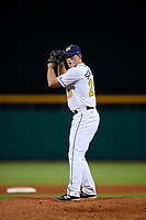 Montgomery Biscuits relief pitcher Brad Schreiber (29) gets ready to deliver a pitch during a game against the Mississippi Braves on April 24, 2017 at Montgomery Riverwalk Stadium in Montgomery, Alabama.  Montgomery defeated Mississippi 3-2.  (Mike Janes/Four Seam Images)