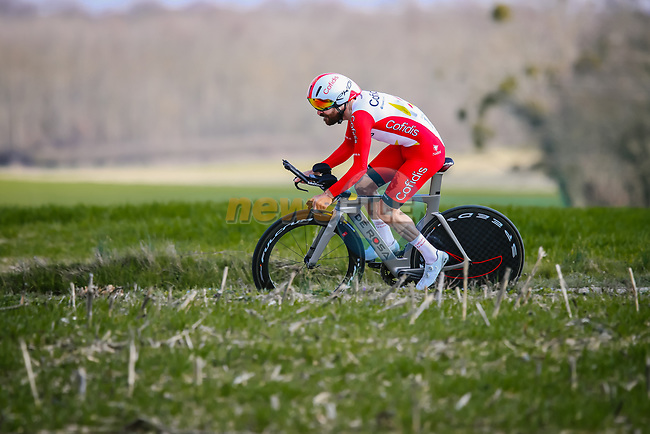 Simon Geschke (GER) Cofidis during Stage 3 of Paris-Nice 2021, an individual time trial running 14.4km around Gien, France. 9th March 2021.<br /> Picture: ASO/Fabien Boukla | Cyclefile<br /> <br /> All photos usage must carry mandatory copyright credit (© Cyclefile | ASO/Fabien Boukla)