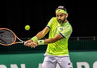 Rotterdam, The Netherlands, 28 Februari 2021, ABNAMRO World Tennis Tournament, Ahoy, Qualyfying doubles match:  Divij Sharan (IND)<br /> Photo: www.tennisimages.com/henkkoster