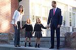 14.09.2012. Prince Felipe of Spain, Princess Letizia of Spain and their daughters Leonor and Sofia  arrive at 'Santa Maria de los Rosales' School in Aravaca near of Madrid, Spain. In the image (L-R) Princess Letizia, Princess Sofia, Princess Leonor and Prince Felipe (Alterphotos/Marta Gonzalez)