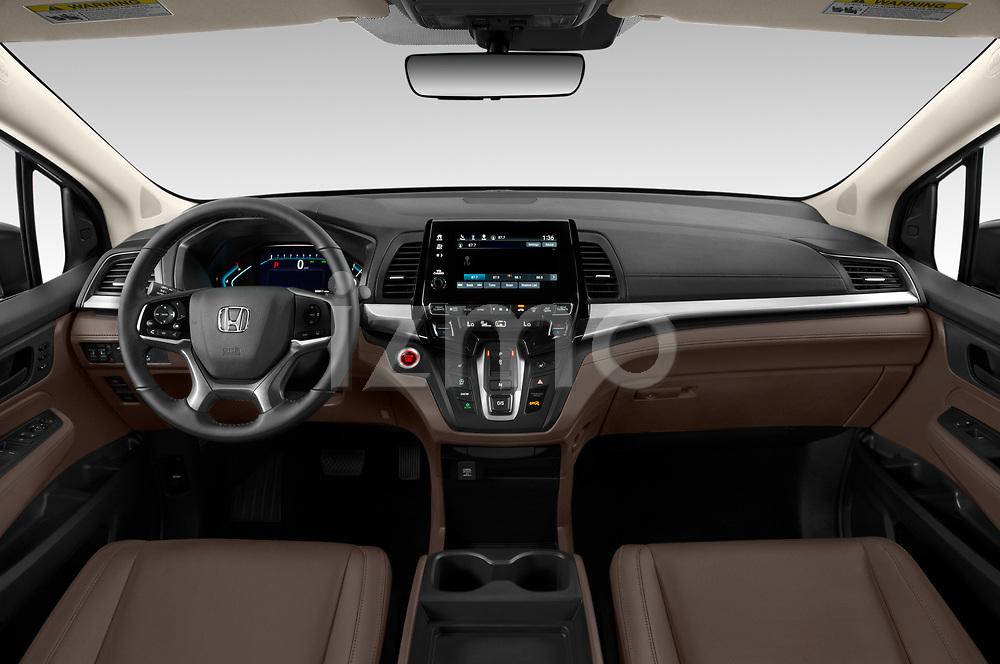 Stock photo of straight dashboard view of 2020 Honda Odyssey EX-L 5 Door Minivan Dashboard