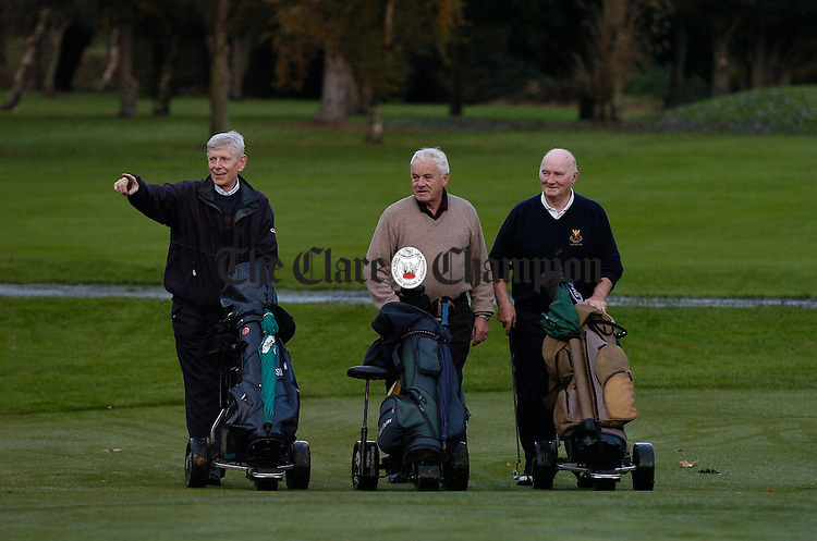 Tom Flynn, member, Mike Drysdale, chairman and Matt Danaher, captain out on the course at Shannon Golf Club. Photograph by John Kelly.