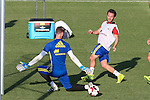 Spanish David De Gea and Juan Mata during the first training of the concentration of Spanish football team at Ciudad del Futbol de Las Rozas before the qualifying for the Russia world cup in 2017 August 29, 2016. (ALTERPHOTOS/Rodrigo Jimenez)