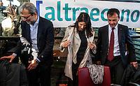 Roberto Giachetti Centro Sinistra, Virginia Raggi Movimento 5 Stelle, Stefano Fassina Sinistra Italiana <br /> Roma 03-05-2016 Citta' dell'Altra Economia <br /> Confronto pubblico tra alcuni dei candidati a sindaco di Roma. <br /> Public debate between Rome's mayor candidates . <br /> Foto Andrea Staccioli Insidefoto