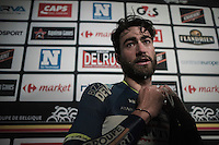 race winner Guillaume van Keirsbulck (BEL/Wanty-Groupe Gobert) freshing up for the victory ceremony in the press booth behind the podium after finishing the race<br /> <br /> GP Le Samyn 2017 (1.1)