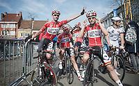 pré-race goofing around for later race winner Kenny Dehaes (BEL) and buddy/teammate Tosh Van der Sande (BEL)<br /> <br /> Nokere Koerse 2014