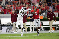 ATHENS, GA - SEPTEMBER 18: O'Donnell Fortune #25 successfully defends a pass to Justin Robinson #9 during a game between South Carolina Gamecocks and Georgia Bulldogs at Sanford Stadium on September 18, 2021 in Athens, Georgia.