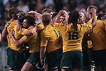 Players of the Australia Wallabies celebrate after winning the match of DHL Hong Kong Bledisloe Cup between New Zealand All Blacks and Australia Wallabies at Hong Kong Stadium on October 30, 2010 in Hong Kong, China.