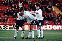 Karen Walker of England is congratulated after scoring a goal during England Women vs Croatia Women, European Championships Qualifier Football at The Valley, Charlton Athletic FC on 19th November 1995