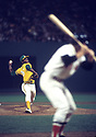 Oakland A's Vida Blue (35) during a game at Fenway Park, in Boston, Massachusetts, against the Boston Red Sox.  Vida Blue played 8 of his 17 years with the Oakland A's from 1969-1977.