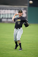 West Virginia Black Bears center fielder Chris Sharpe (16) throws in the outfield before a game against the Batavia Muckdogs on August 7, 2017 at Dwyer Stadium in Batavia, New York.  West Virginia defeated Batavia 6-3.  (Mike Janes/Four Seam Images)