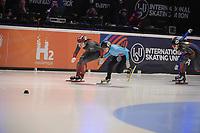 SPEEDSKATING: DORDRECHT: 06-03-2021, ISU World Short Track Speedskating Championships, SF 1500m Ladies, Courtney Sarault (CAN), Hanne Desmet (BEL), Florence Brunelle (CAN), ©photo Martin de Jong