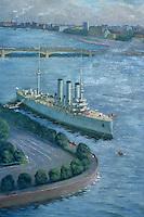 """Europe-Asie/Russie/Saint-Petersbourg: Tableau réaliste de la marine sur le croiseur """"Aurore"""""""