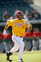 Jake Hernandez #21 of the USC Trojans runs the bases against the Cal State Northridge Matadors at Dedeaux Field on February 24, 2013 in Los Angeles, California. (Larry Goren/Four Seam Images)