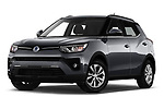 Stock pictures of low aggressive front three quarter view of 2020 Ssangyong Tivoli Quartz 5 Door SUV Low Aggressive