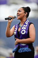 Orlando, FL - Saturday September 24, 2016: National Anthem Performer prior to a regular season National Women's Soccer League (NWSL) match between the Orlando Pride and FC Kansas City at Camping World Stadium.