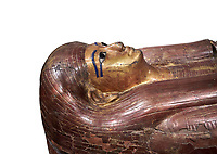 Acient Egyptian sacophagus of Kha -  inner coffin from  tomb of Kha, Theban Tomb 8 , mid-18th dynasty (1550 to 1292 BC), Turin Egyptian Museum. white background