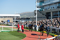 The parade ring during Ladies Day of The Festival at Cheltenham Racecourse on Wednesday 15th March 2017 (Photo by Rob Munro/Stewart Communications)