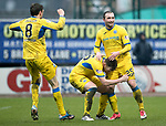 Dundee v St Johnstone…10.03.18…  Dens Park    SPFL<br />Chris Kane celebartes his goal with Liam Craig and Murray Davidson<br />Picture by Graeme Hart. <br />Copyright Perthshire Picture Agency<br />Tel: 01738 623350  Mobile: 07990 594431