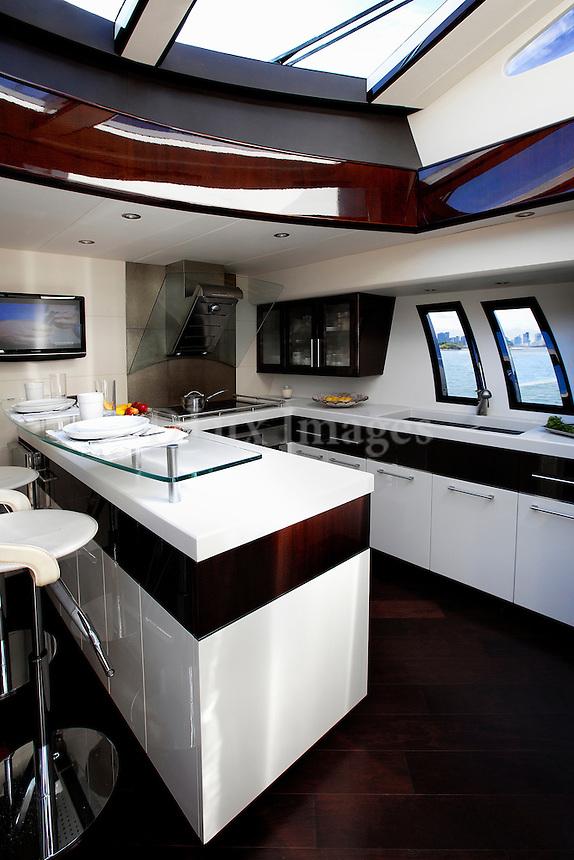 boat open plan kitchen
