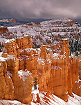 Bryce Canyon National Park, UT<br /> Fresh snow on sandstone hoodoos of the Bryce Amphitheater from Navajo Trail at Sunset Point