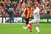 20191102 – Lens , France : Guillaume Gillet (27) of Lens pictured in a duel with Jonathan Delaplace (22) of Lorient during a French Ligue 2 soccer game between Racing Club de Lens and FC Lorient , a football game on the 13th matchday in the French second league, on saturday 2 nd of November 2019 at the Stade Bollaert Delelis in Lens , France . PHOTO SPORTPIX.BE | DAVID CATRY
