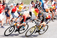 11th July 2021, Ceret, Pyrénées-Orientales, France; Tour de France cycling tour, stage 15, Ceret to  Andorre-La-Vieille;   POELS Wouter (NED) of BAHRAIN VICTORIOUS, VAN AERT Wout (BEL) of JUMBO - VISMA  during stage 15 of the 108th edition of the 2021 Tour de France cycling race, a stage of 191,3 kms between Ceret and Andorre-La-Vieille.