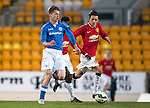 St Johnstone Academy v Manchester United Academy....17.04.15   <br /> Joe Johnson is closed down by Callum Whelan<br /> Picture by Graeme Hart.<br /> Copyright Perthshire Picture Agency<br /> Tel: 01738 623350  Mobile: 07990 594431