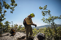 Members of the Brif, (reinforcement brigade wildfires) work to put out a wildfire in Tabuyo del Monte, near Leon on August 22, 2012. Spain's government Thursday denied crisis budget cuts had hit national resources for fighting this summer's spate of deadly wildfires. Numerous wildfires have broken out across Spain including a fire that has ravaged thousands of hectares on the Spanish island of La Gomera, part of the Canary Islands archipelago, in the sweltering heat in recent weeks. © Pedro ARMESTRE