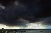 Storm Cloudes over Belhaven Bay, Traprain Law and North Berwick Law from the John Muir Way, John Muir Country Park, Dunbar, East Lothian