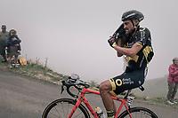 Adrien Petit (FRA/Direct Energie) getting his jacket on before descending the Port de Balès (HC/1755m/11.7km/7.7%)<br /> <br /> 104th Tour de France 2017<br /> Stage 12 - Pau › Peyragudes (214km)