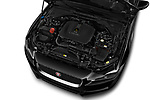 Car stock 2018 Jaguar XE Base 4 Door Sedan engine high angle detail view
