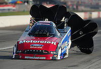 Sept. 3, 2011; Claremont, IN, USA: NHRA funny car driver Bob Tasca III during qualifying for the US Nationals at Lucas Oil Raceway. Mandatory Credit: Mark J. Rebilas-