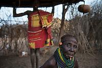ETHIOPIA, Southern Nations, Lower Omo valley, Kangaten, village Kakuta, Nyangatom tribe / AETHIOPIEN, Omo Tal, Kangaten, Dorf Kakuta, Nyangatom Hirtenvolk