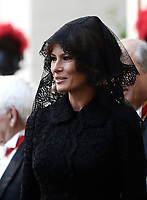 First lady Melania Trump smiles as she arrives at the San Damaso courtyard for a private audience with Pope Francis, at the Vatican, May 24, 2017.<br /> UPDATE IMAGES PRESS/Isabella Bonotto<br /> STRICTLY ONLY FOR EDITORIAL USE