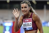 Luminosa Bogliolo of Italy reacts at the end of the 100m hurdles women during the Wanda  Diamond League Golden Gala meeting at the Luigi Ridolfi stadium in Florence, Italy, June 10th, 2021. Photo Andrea Staccioli / Insidefoto