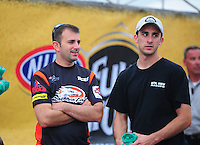 May 1, 2011; Baytown, TX, USA: NHRA pro stock motorcycle rider Eddie Krawiec (left) and pro stock car winner Vincent Nobile during the Spring Nationals at Royal Purple Raceway. Mandatory Credit: Mark J. Rebilas-